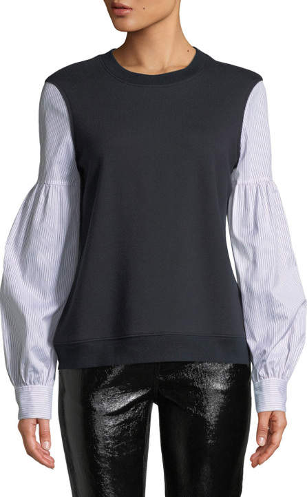 Derek Lam 10 Crosby Poplin-Sleeve Crewneck Pullover Sweatshirt