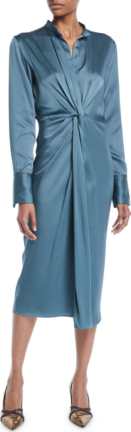 Brunello Cucinelli Long-Sleeve Twist-Front Satin Midi Dress