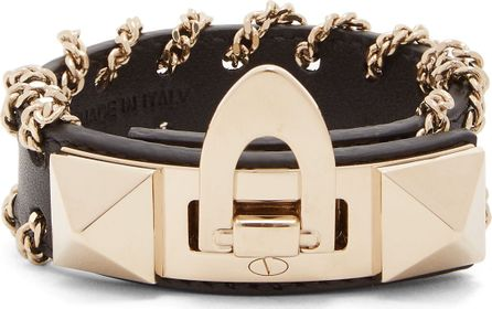Valentino Rockstud whipstitched-chain leather bracelet