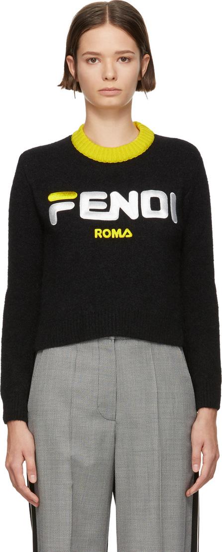 Fendi Black Mania Logo Cropped Sweater