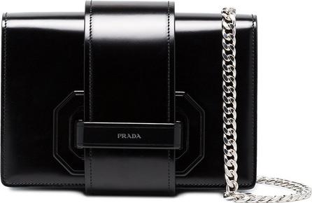 Prada Black plex ribbon leather shoulder bag