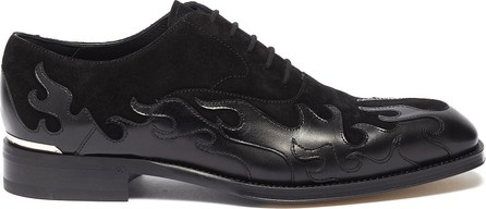 Alexander McQueen Flame patchwork leather and suede oxfords