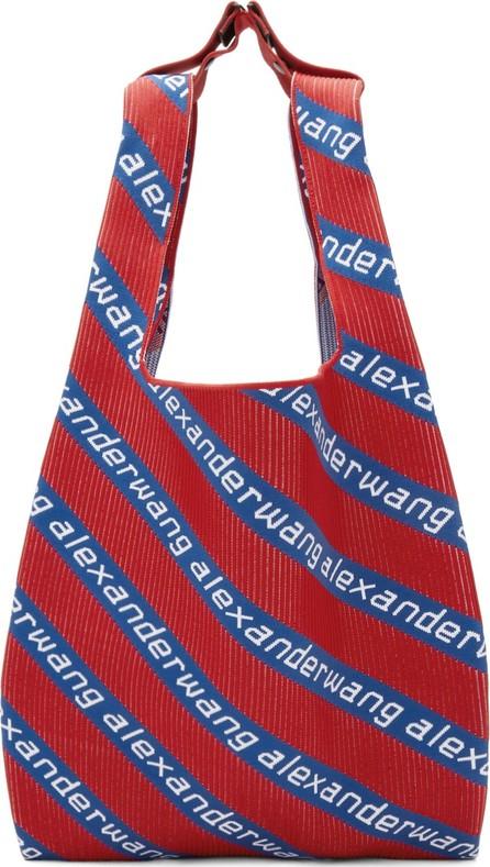Alexander Wang Red & Blue Knit Jacquard Shopper Tote