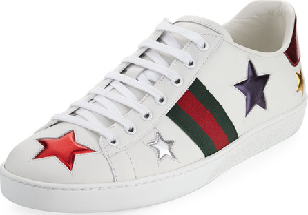 Gucci Star Leather Sneakers, White