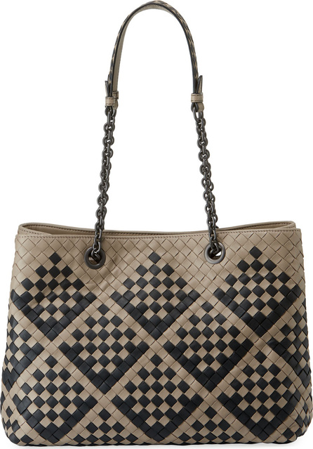 Bottega Veneta Intrecciato Pavone Zip Shoulder Tote Bag