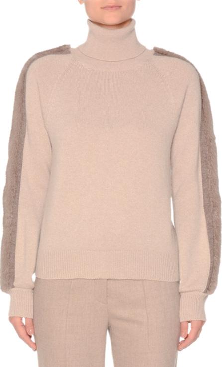 Agnona Turtleneck Cashmere Sweater with Mink