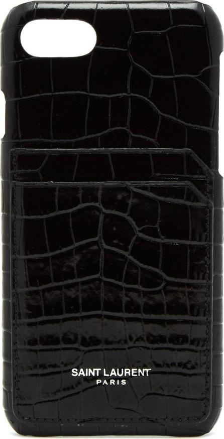 Saint Laurent Ipone 8 crocodile-effect card slot phone case