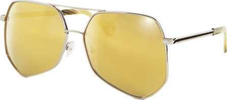 Grey Ant Megalast Geometric Aviator Sunglasses, Silver/Gold