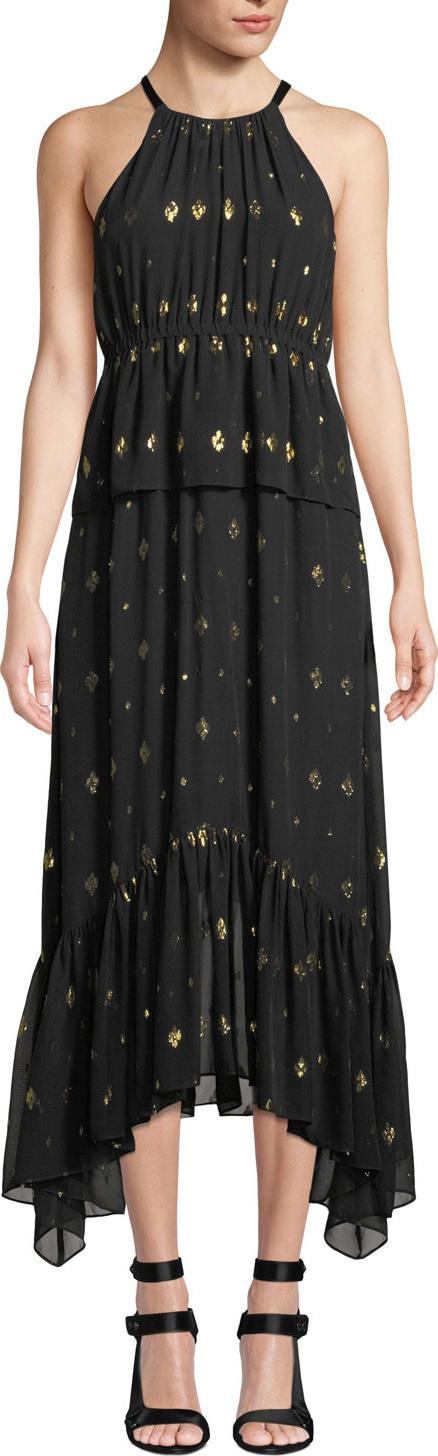 A.L.C. Rosa High-Neck Metallic Long Dress