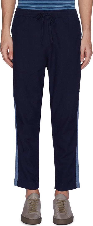 Denham 'Carlton' stripe outseam cotton-linen jogging pants