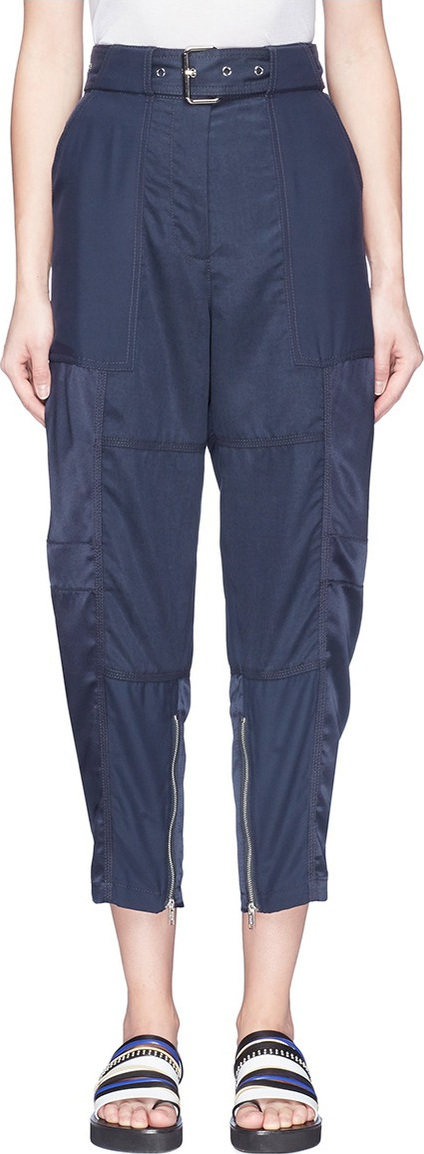 3.1 Phillip Lim Belted satin panel zip cuff cropped cargo pants