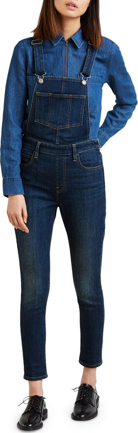 LEVI'S Cropped Skinny-Leg Denim Overalls