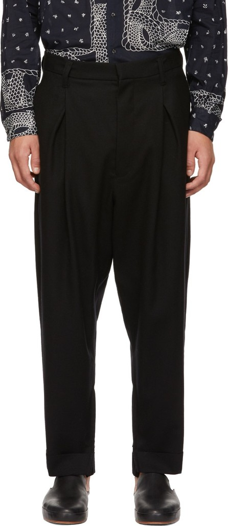 BED J.W. FORD Black Wool Slit Pants