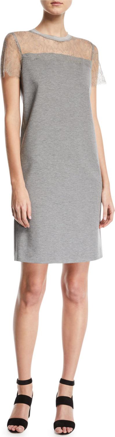 Escada Sport Short-Sleeve Jersey A-Line Dress w/ Lace Top