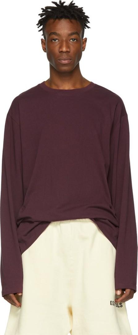 Essentials Burgundy Boxy Long Sleeve T-Shirt