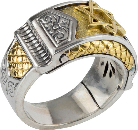 Konstantino Men's Sterling Silver & Gold Star of David Ring