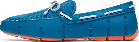 Swims Men's Mesh & Rubber Braided-Lace Boat Shoes, Seaport Blue/Alloy