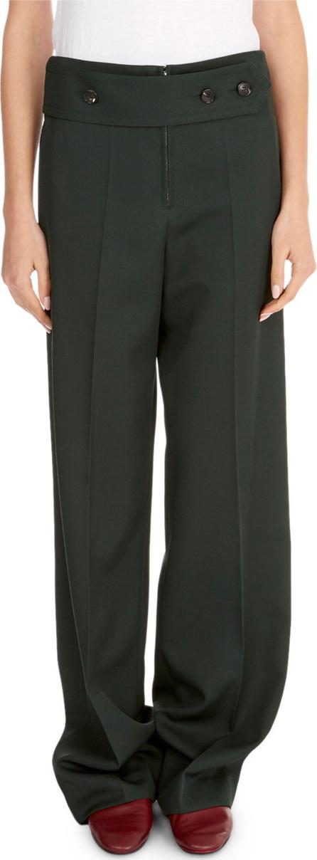 Victoria Beckham Wide-Leg Pants w/ Martingale Waist