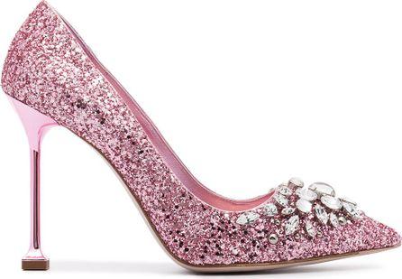 Miu Miu Glitter 105 pumps with Swarovski crystal embellishment