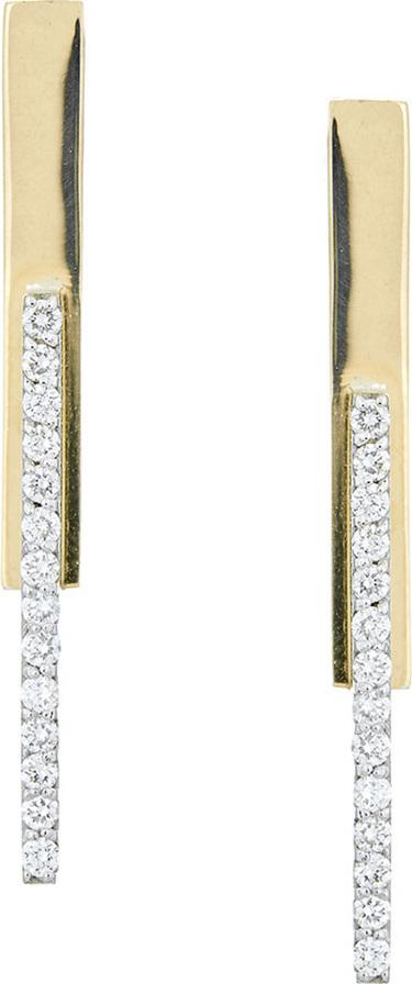 Lana 14k Gold Short Stacked Bar Earrings w/ Diamonds