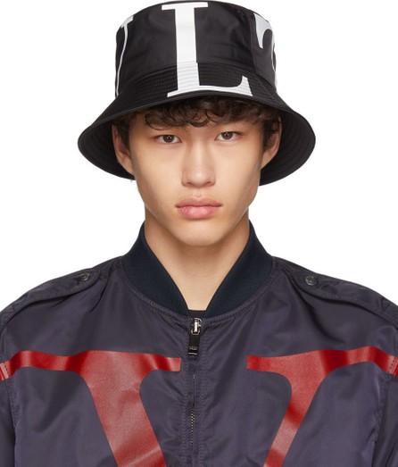 Valentino Black Valentino Garavani 'VLTN' Bucket Hat
