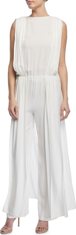 Carolina Ritzler High-Neck Sleeveless Wide-Leg Crepe Satin Jumpsuit