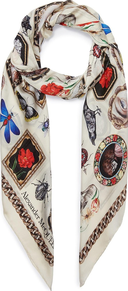 Alexander McQueen Cameo and Curiosities silk twill scarf