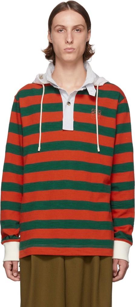 LOEWE Green & Orange Stripe Hooded Polo
