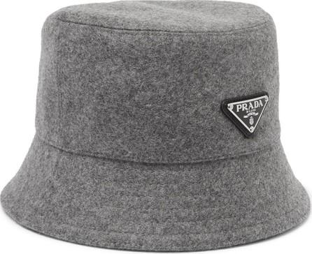 Prada Logo-Appliquéd Wool-Felt Bucket Hat