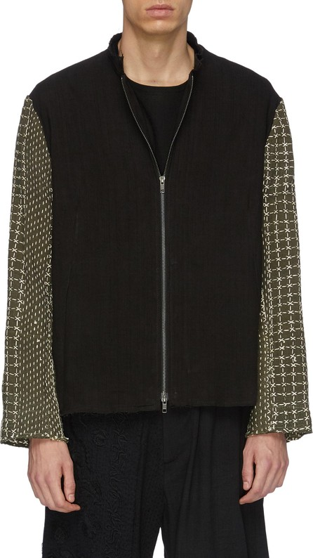 By Walid 'Classic' colourblock geometric embroidered sleeve linen jacket