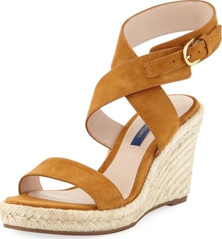 5095edb961a9 Stuart Weitzman Ava Low-Heel Metallic Leather Slide Sandal in White ...
