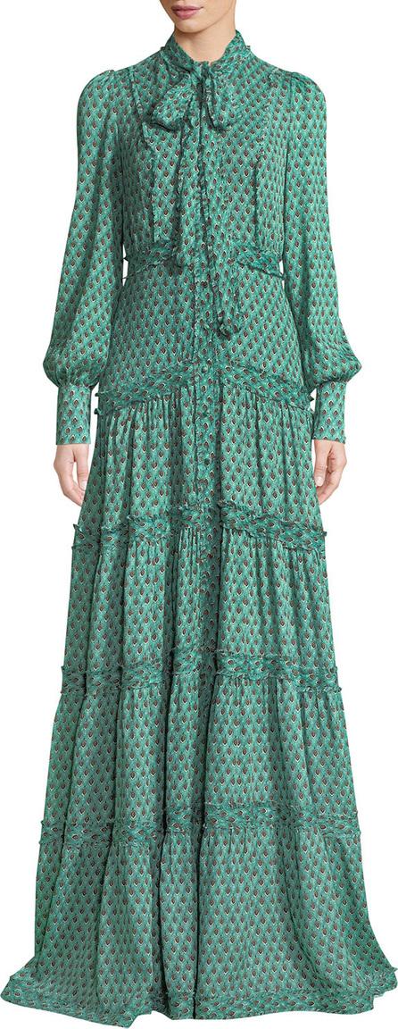 Alexis Margeaux Printed Button-Front Tie-Neck Maxi Dress