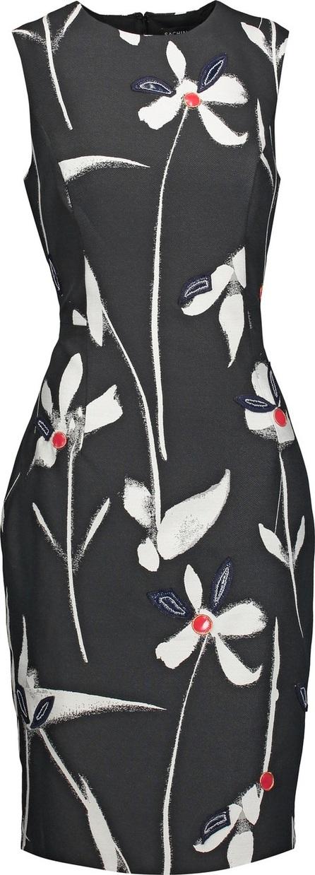 Noir Sachin & Babi May appliquéd printed faille dress