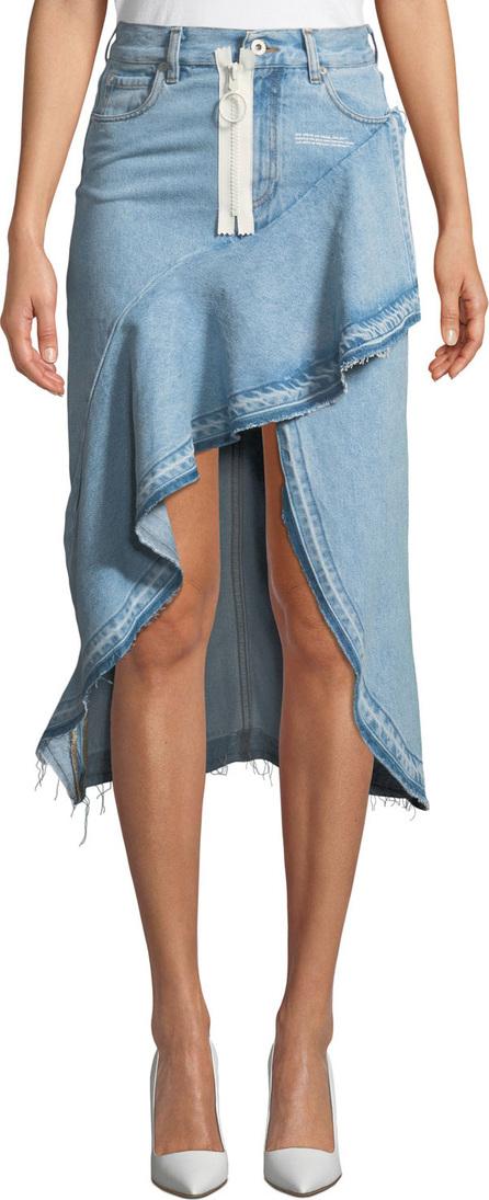 Off White High-Low Ruffled Denim Skirt