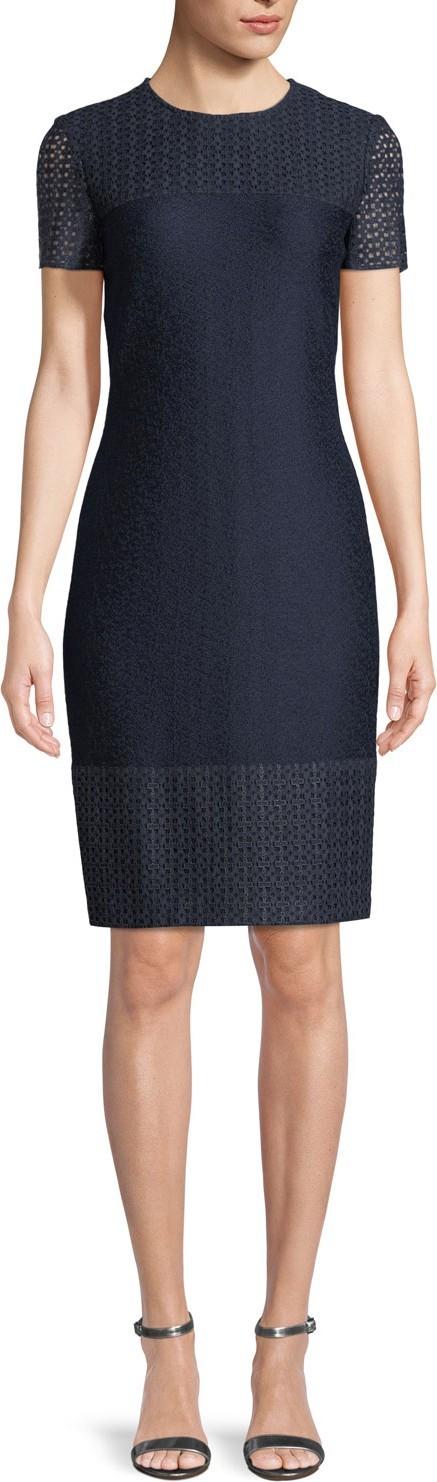 St. John Caris Knit Lace-Trim Short-Sleeve Dress