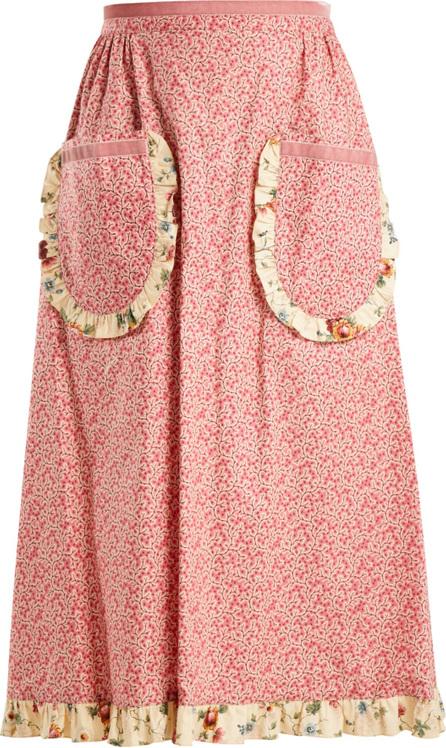 Batsheva Vine-print ruffled cotton skirt