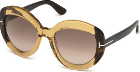 TOM FORD Bianca Two-Tone Acetate Gradient Sunglasses, Light Brown