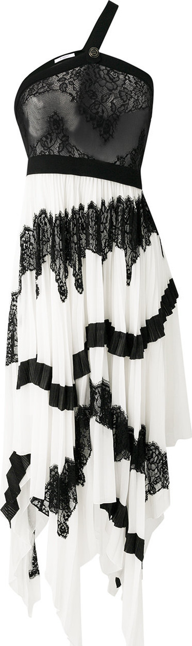 Long pleated asymmetric dress