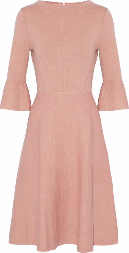 Lela Rose Metallic wool-blend crepe dress
