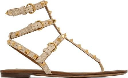 Valentino Beige Valentino Garavani Rockstud Raffia Double Thong Sandals