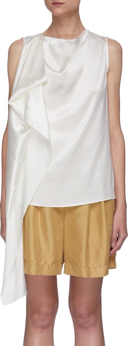 EQUIL Asymmetric drape sleeveless silk top