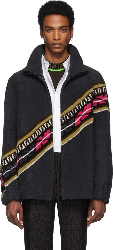 Fendi Reversible Grey & Black Shearling FF Jacket