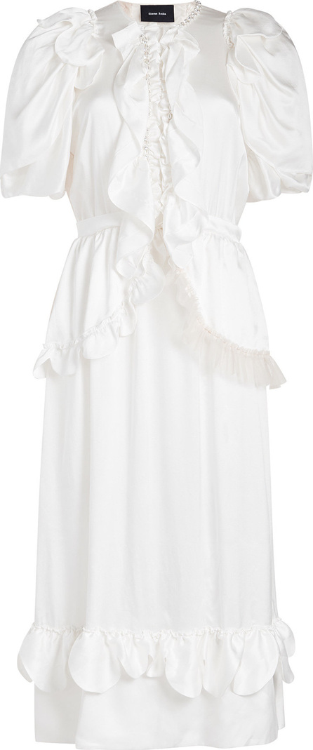 Simone Rocha Beaded Ruffle Front Silk Dress