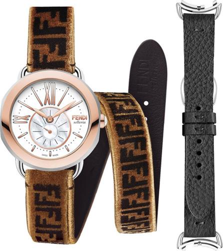 Fendi 36mm Selleria 18k Watch Head w/ Zucca Strap