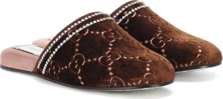Gucci Embellished velvet slippers