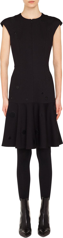 Akris Punto Zip-Front Cap-Sleeve Tonal-Dot Embroidered A-Line Dress