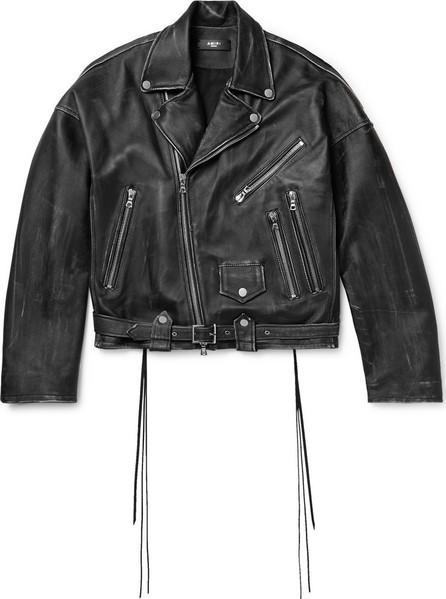 Amiri Cropped Distressed Leather Biker Jacket