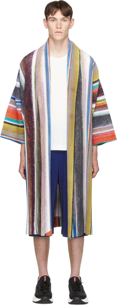 Homme Plissé Issey Miyake Multicolor Striped Coat