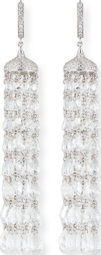 64 Facets 18k White Gold Rose-Cut Diamond Tassel Earrings