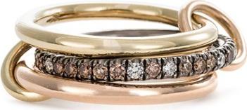 Spinelli Kilcollin 'Iris' diamond mixed 18k yellow gold three link ring